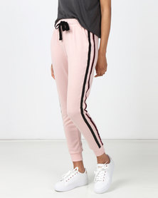 Legit Fleece Jogger With Velour Side Tape Pale Salmon