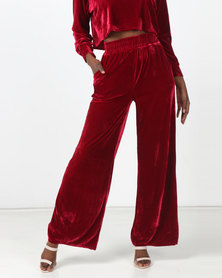 Legit Velour Side Pocket Wide Leg Pants Burgundy