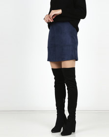 Legit Suede Panelled A-Line Mini Skirt Navy