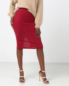 Legit Brushed Rib Tube Midi Skirt Burgundy