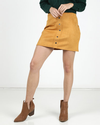 Legit Suede Front Popper A-Line Mini Skirt Mustard