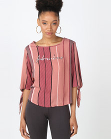 Legit Screen Tee With Split Sleeves Blush