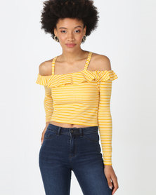 Legit Long Sleeve Cold Shoulder Frill Bardot Stripe Top Mustard/ White