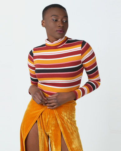 Legit Long Sleeve Rib Fitted Poloneck Stripe Top Multi