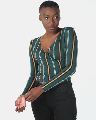 Legit Long Sleeve Wrap Stripe Top Multi