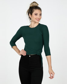 Legit 3/4 Sleeve Fitted Top with Side Buckle Detail Teal