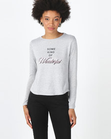Legit Long Sleeve Slouchy Wonderful Slogan Tee Grey Melange