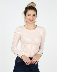 Legit Long Sleeve Stripe Rib Top With Sleeve Button Detail Stone/ White
