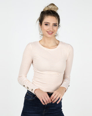 Legit Long Sleeve Stripe Rib Top With Sleeve Button Detail Stone/ White