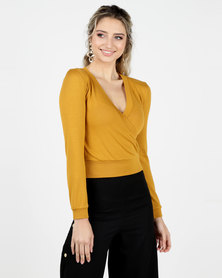 Legit Long Sleeve Wrap Front Top Mustard