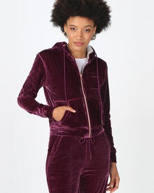 Legit Velour Zip Through Hoodie With Sherpa Lining Grape