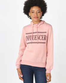 Legit Hoodie Pullover With Influencer Screen Print Blush