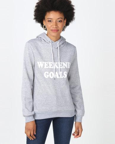 Legit Hoodie Pullover With Weekend Goals Screen Print Grey Melange