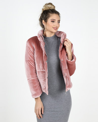 93e0365fd Legit Velour Padded Bomber Jacket Pink