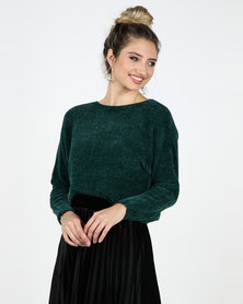 Legit Boxy Chenille Pullover Dark Green