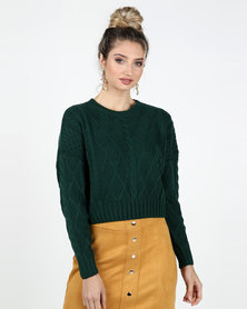 Legit Boxy Pullover with Cable Knit Design Teal
