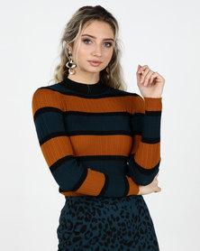 Legit Fitted Stripe Turtleneck Pullover Teal/ Black/ Mustard