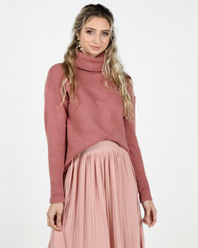 Legit Boxy Roll Neck Pullover Blush