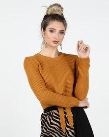 Legit Tie Front Crop Pullover Mustard