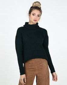Legit Boxy Roll Neck Pullover Teal