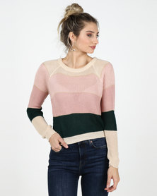 Legit Boxy Stripe Pullover Cream/Teal/Blush