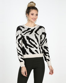 Legit Animal Jacquard Pullover Black/Beige