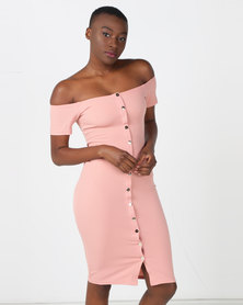 Legit Off The Shoulder Button Front Bodycon Dress Blush