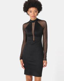 Legit Deep V Mesh Inset Bodycon Dress Black
