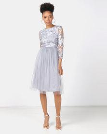 Legit 3/4 Sleeve Embroidered Prom Dress Grey