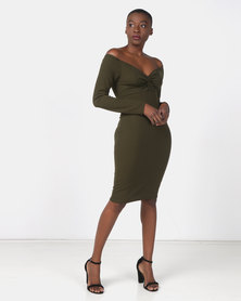 Legit Knot Front Bodycon Dress Fatigue