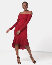 Legit Off The Shoulder Flounce Hem Bodycon Dress Berry