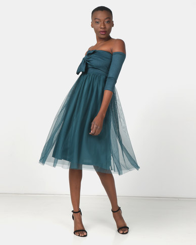 Legit 3/4 Sleeve Knot Front Prom Dress Teal