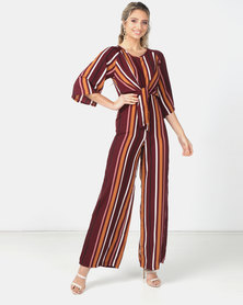 Legit Stripe Tie Front Jumpsuit Multi
