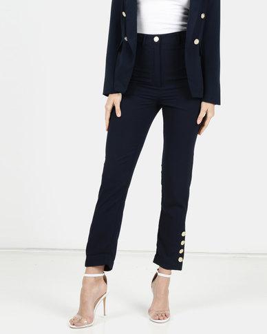 Legit Button Leg Detail Pants Navy
