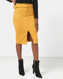 Legit O Ring Suede Pencil Skirt Mustard