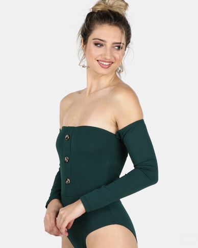 Legit Button Detail Bodysuit Emerald