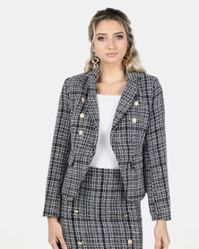 Legit Tweed Double Breasted Blazer Black/White