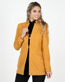 Legit Open Textured Blazer Coat Mustard