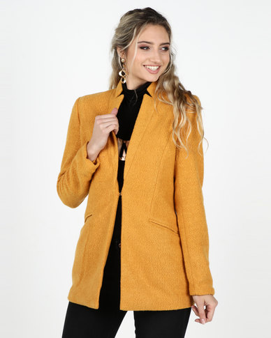 Legit Open Textured Blazer Coat Mustard