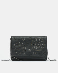 Bata Studded Foldover Crossbody Bag Black