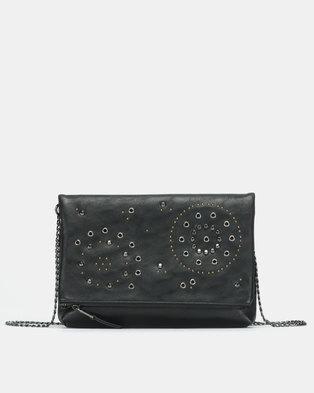 Bata Studded Foldover Crossbody Bag Black