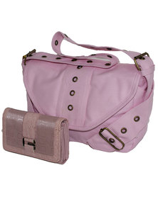 Fino Canvas Handbag & Purse Set - Pink