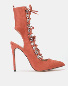 Public Desire Submission Silver Chain Detail Lace Up Heels Rust