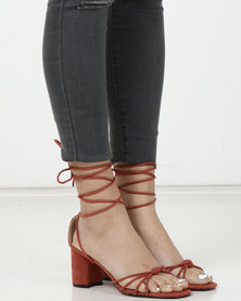 Public Desire Breeze Strappy Mid Heels Rust