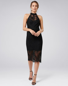 Forever New Lena High Neck Lace Bodcyon Black
