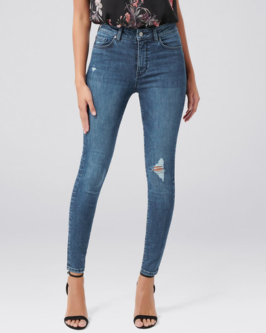 Forever New Zoe Mid Rise Ankle Grazer Jean Paris Blue Distress