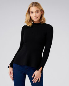 Forever New Cleo Drape Hem Jumper Black