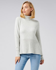 Forever New Mia Mixed Rib Roll Neck Jumper Iced Grey