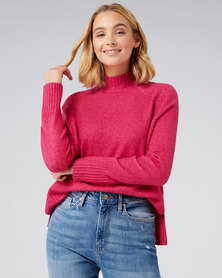 Forever New Ruby Stand Neck Essential Jumper Playful Magenta