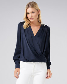 Forever New Sandra gathered yoke wrap shirt Navy
